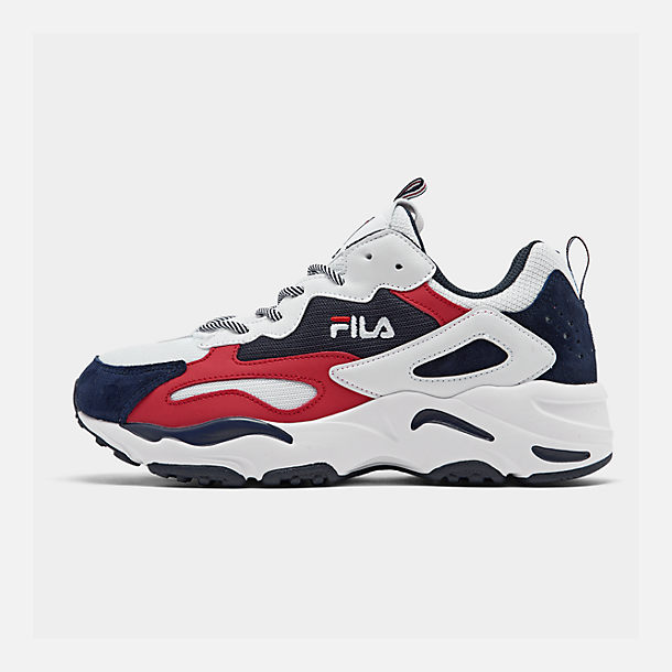 Right view of Men's FILA Ray Tracer Americana Casual Shoes in White/Fila Navy/Fila Red