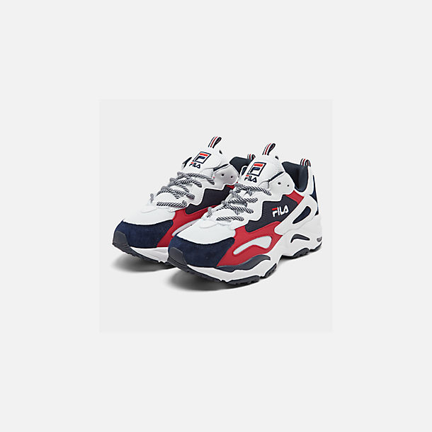 Three Quarter view of Men's FILA Ray Tracer Americana Casual Shoes in White/Fila Navy/Fila Red