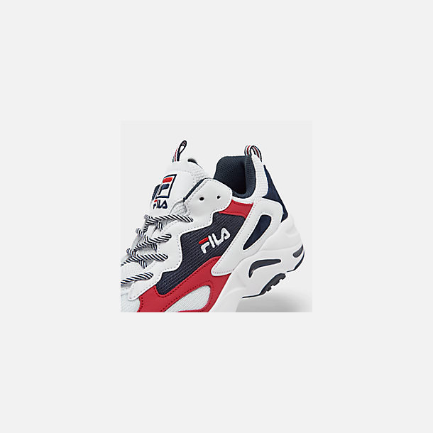 Front view of Men's FILA Ray Tracer Americana Casual Shoes in White/Fila Navy/Fila Red
