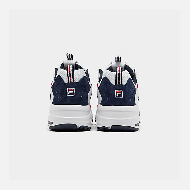 Left view of Men's FILA Ray Tracer Americana Casual Shoes in White/Fila Navy/Fila Red