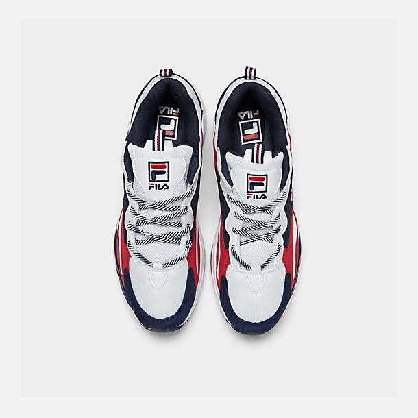 Bottom view of Men's FILA Ray Tracer Americana Casual Shoes in White/Fila Navy/Fila Red