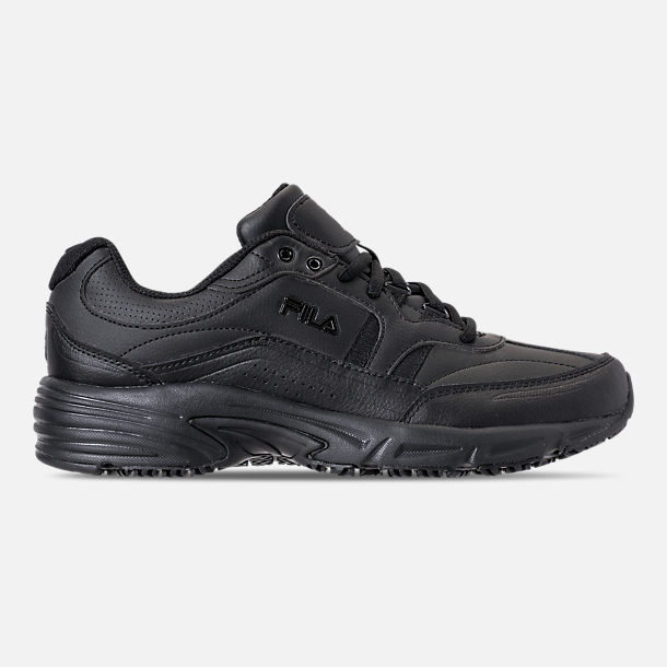 Right view of Men's Fila Memory Workshift Slip Resistant Casual Shoes in Triple Black