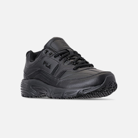 Three Quarter view of Men's Fila Memory Workshift Slip Resistant Casual Shoes in Triple Black