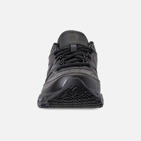 Front view of Men's Fila Memory Workshift Slip Resistant Casual Shoes in Triple Black