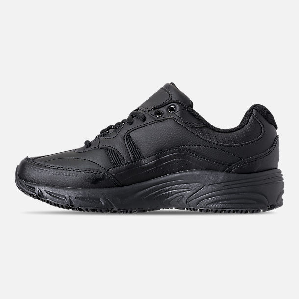 Left view of Men's Fila Memory Workshift Slip Resistant Casual Shoes in Triple Black