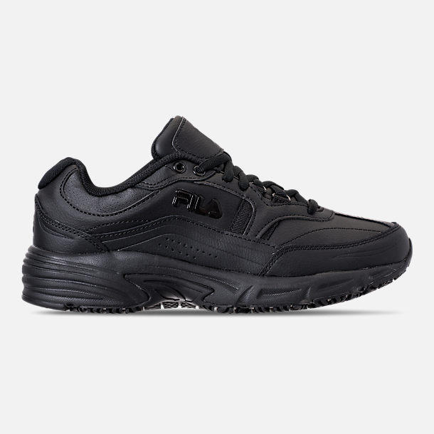 Right view of Men's Fila Memory Workshift Slip Resistant Wide Width Casual Shoes in Triple Black