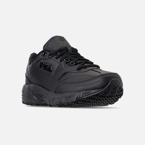 Three Quarter view of Men's Fila Memory Workshift Slip Resistant Wide Width Casual Shoes in Triple Black