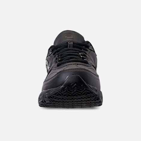 Front view of Men's Fila Memory Workshift Slip Resistant Wide Width Casual Shoes in Triple Black