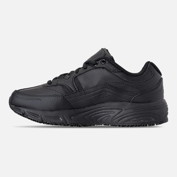 Left view of Men's Fila Memory Workshift Slip Resistant Wide Width Casual Shoes in Triple Black