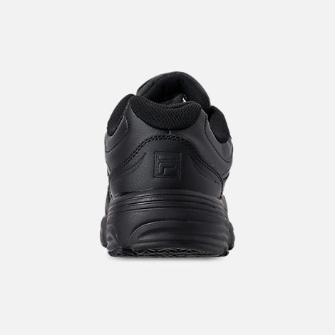 Back view of Men's Fila Memory Workshift Slip Resistant Wide Width Casual Shoes in Triple Black