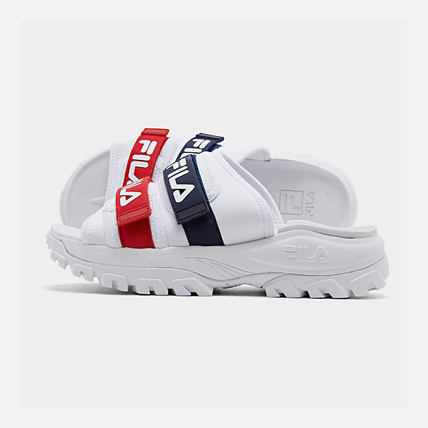 Right view of Men's Fila Outdoor Slide Sandals in White/Navy/Red