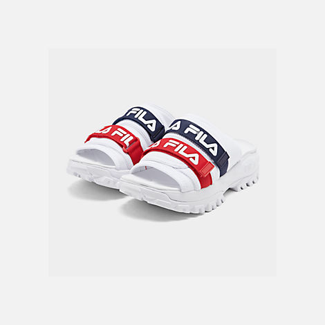 Three Quarter view of Men's Fila Outdoor Slide Sandals in White/Navy/Red