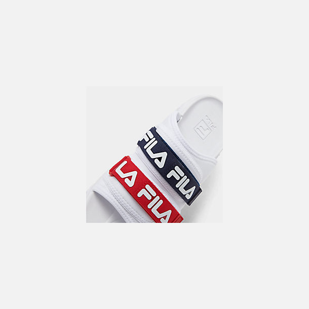 Front view of Men's Fila Outdoor Slide Sandals in White/Navy/Red