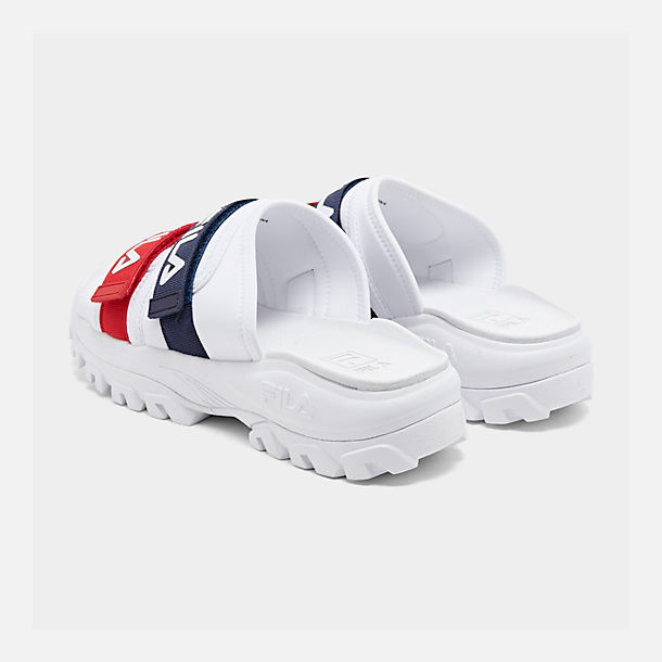 Left view of Men's Fila Outdoor Slide Sandals in White/Navy/Red