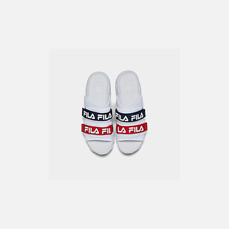 Back view of Men's Fila Outdoor Slide Sandals in White/Navy/Red