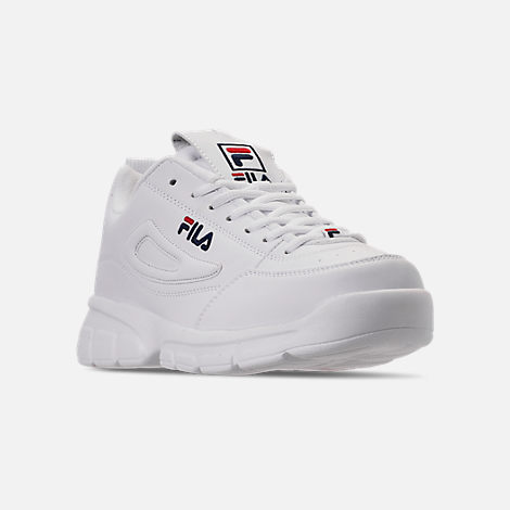 Three Quarter view of Men's Fila Disruptor SE Casual Shoes in White/Footwear Navy/Red