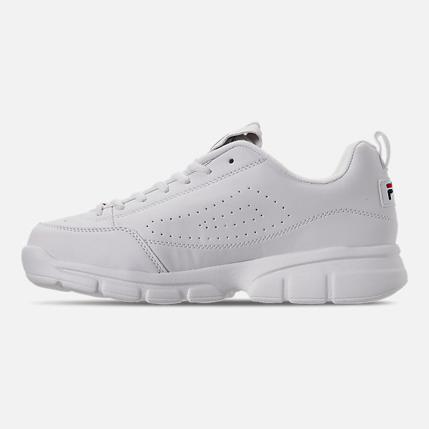 Left view of Men's Fila Disruptor SE Casual Shoes in White/Footwear Navy/Red