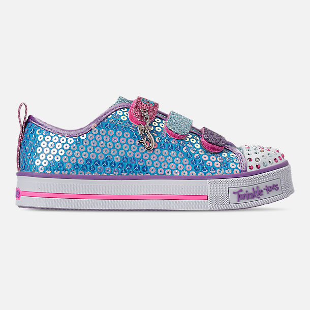 Right view of Girls' Little Kids'Skechers Twinkle Toes: Twinkle Lite - Mermaid Magic Light-Up Hook-and-Loop Casual Shoes in Turqouise/Multi
