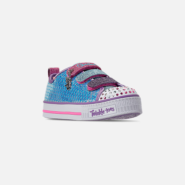 Three Quarter view of Girls' Little Kids' Skechers Twinkle Toes: Twinkle Lite - Mermaid Magic Light-Up Hook-and-Loop Casual Shoes in Turqouise/Multi