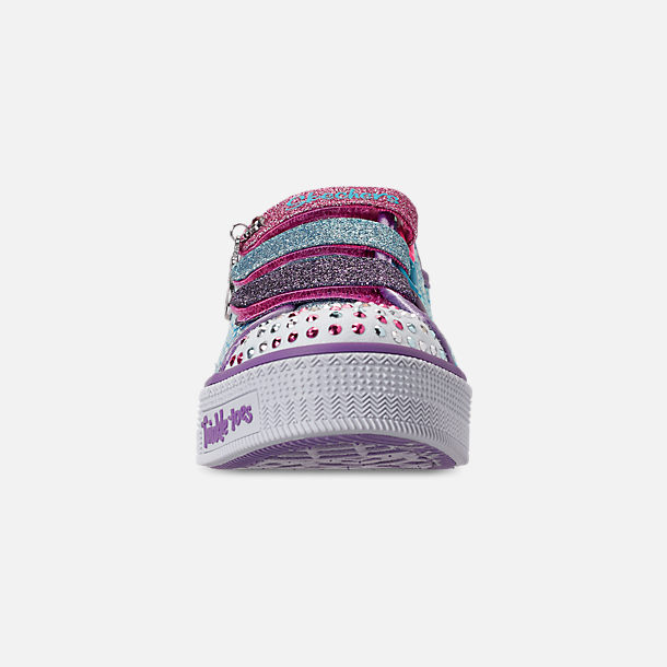 Front view of Girls' Little Kids' Skechers Twinkle Toes: Twinkle Lite - Mermaid Magic Light-Up Hook-and-Loop Casual Shoes in Turqouise/Multi