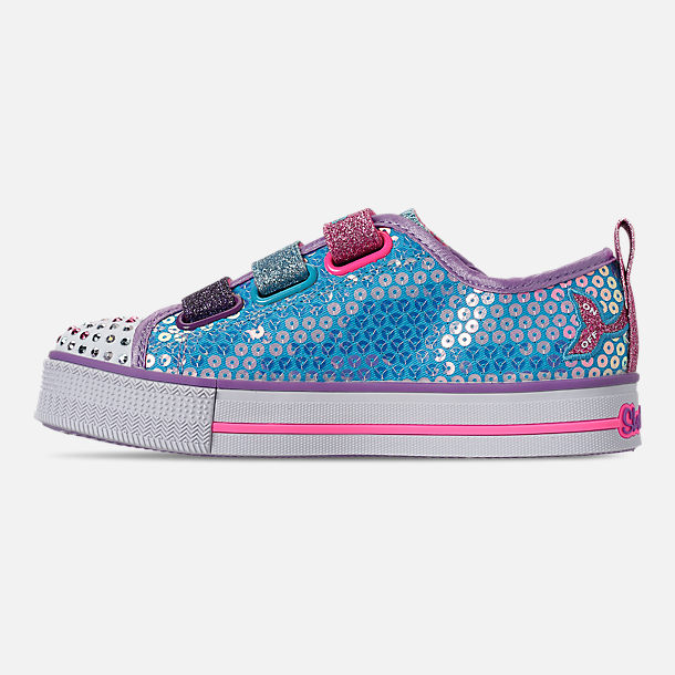 Left view of Girls' Little Kids'Skechers Twinkle Toes: Twinkle Lite - Mermaid Magic Light-Up Hook-and-Loop Casual Shoes in Turqouise/Multi