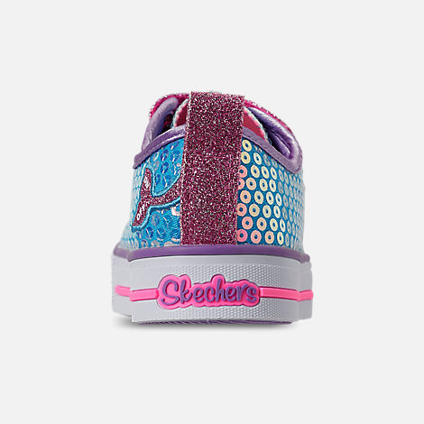 Back view of Girls' Little Kids'Skechers Twinkle Toes: Twinkle Lite - Mermaid Magic Light-Up Hook-and-Loop Casual Shoes in Turqouise/Multi