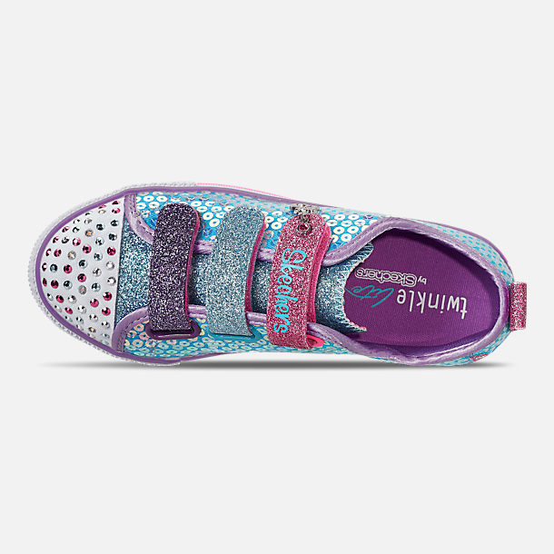 Top view of Girls' Little Kids'Skechers Twinkle Toes: Twinkle Lite - Mermaid Magic Light-Up Hook-and-Loop Casual Shoes in Turqouise/Multi
