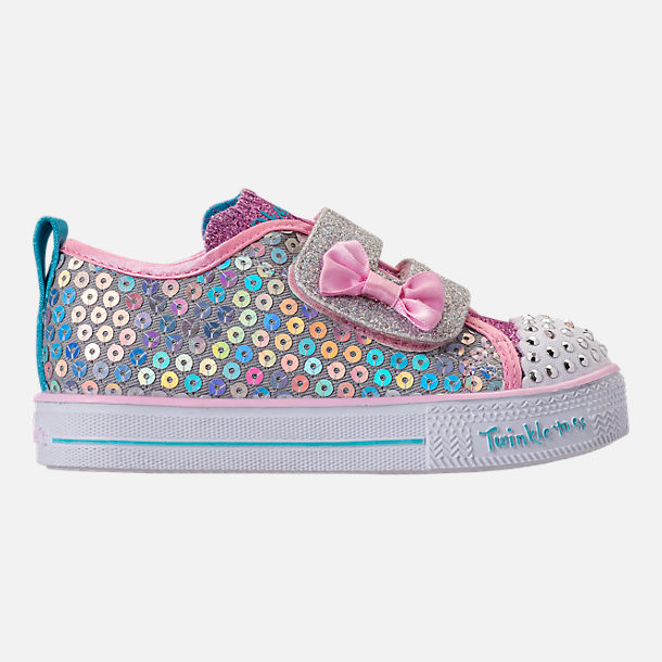 Right view of Girls' Toddler Skechers Twinkle Toes: Shuffle Lite - Mini Mermaid Light-Up Hook-and-Loop Casual Shoes in Silver Mermaid Sequin