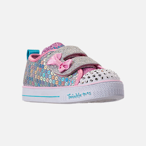 Three Quarter view of Girls' Toddler Skechers Twinkle Toes: Shuffle Lite - Mini Mermaid Light-Up Hook-and-Loop Casual Shoes in Silver Mermaid Sequin