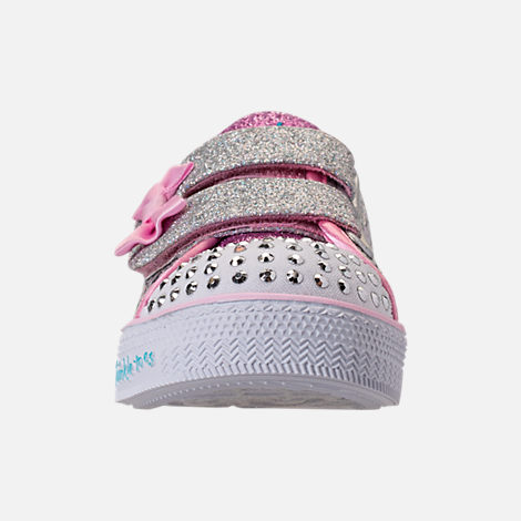 Front view of Girls' Toddler Skechers Twinkle Toes: Shuffle Lite - Mini Mermaid Light-Up Hook-and-Loop Casual Shoes in Silver Mermaid Sequin