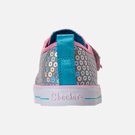 Back view of Girls' Toddler Skechers Twinkle Toes: Shuffle Lite - Mini Mermaid Light-Up Hook-and-Loop Casual Shoes in Silver Mermaid Sequin