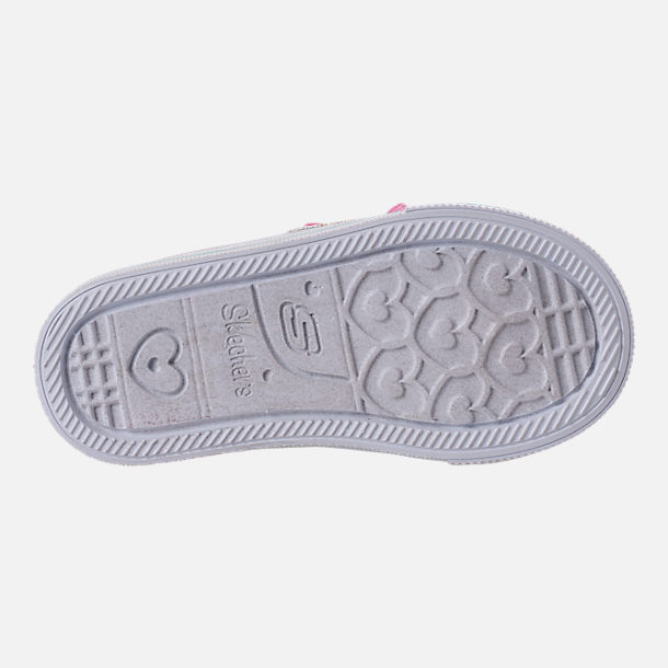 Bottom view of Girls' Toddler Skechers Twinkle Toes: Shuffle Lite - Mini Mermaid Light-Up Hook-and-Loop Casual Shoes in Silver Mermaid Sequin