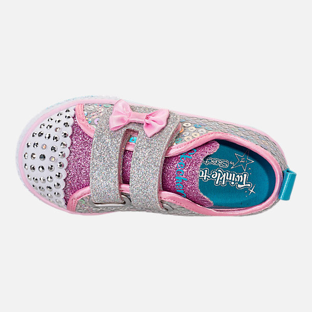 Top view of Girls' Toddler Skechers Twinkle Toes: Shuffle Lite - Mini Mermaid Light-Up Hook-and-Loop Casual Shoes in Silver Mermaid Sequin