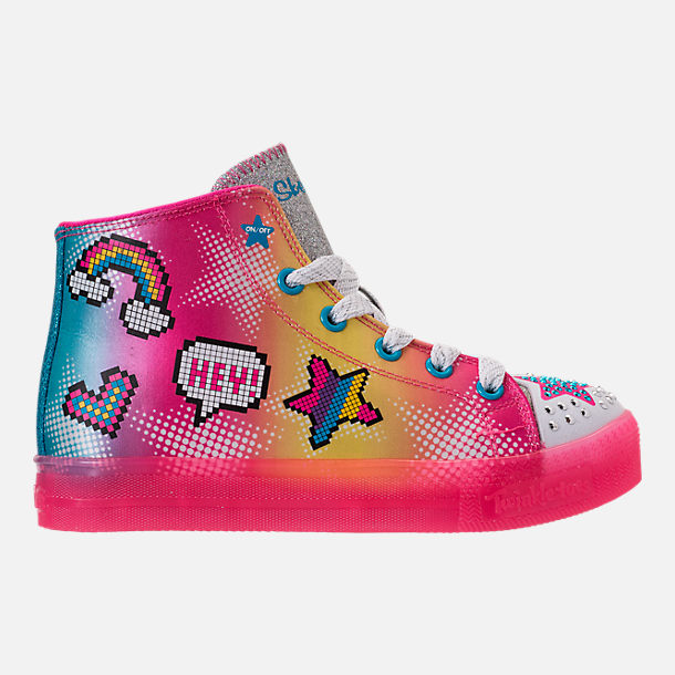 Right view of Girls' Preschool Skechers Twinkle Toes: Twinkle Brights Light-Up Casual Shoes in Pink Ombre