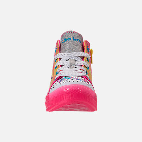 Front view of Girls' Preschool Skechers Twinkle Toes: Twinkle Brights Light-Up Casual Shoes in Pink Ombre