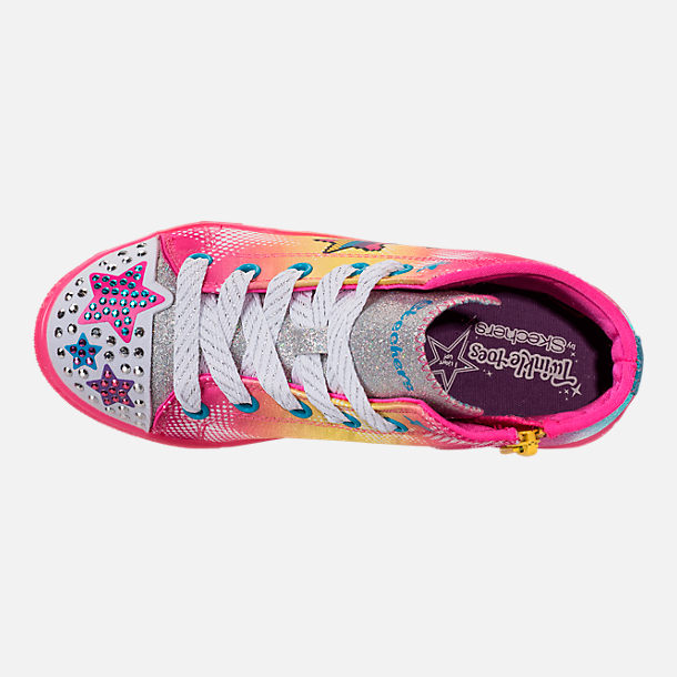 Top view of Girls' Preschool Skechers Twinkle Toes: Twinkle Brights Light-Up Casual Shoes in Pink Ombre