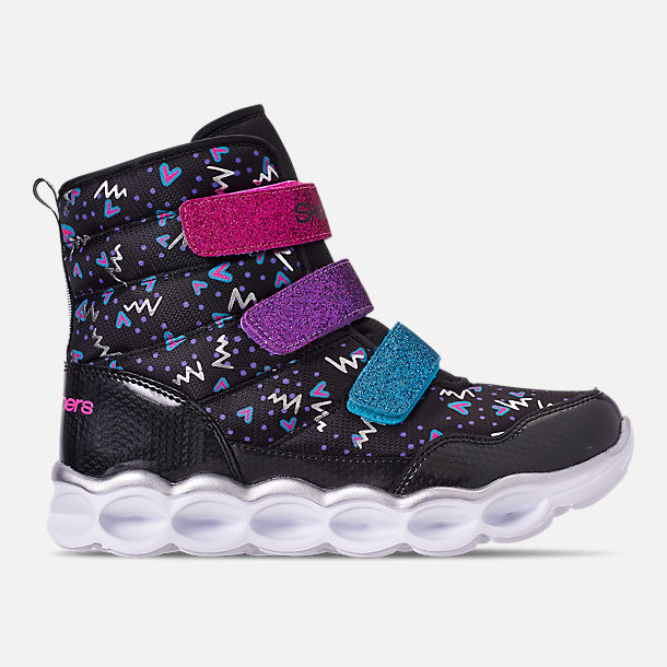 Right view of Girls' Little Kids' Skechers Twinkle Toes: Lumi Luxe Hook-and-Loop Boots