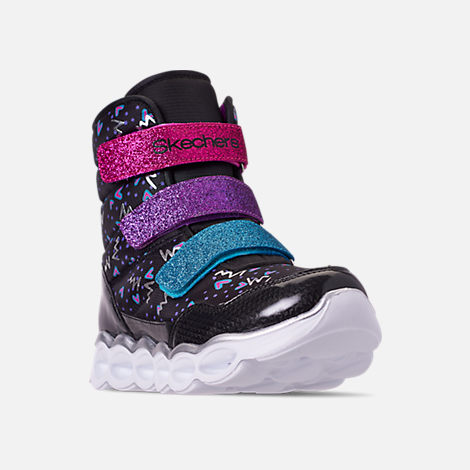 Three Quarter view of Girls' Little Kids' Skechers Twinkle Toes: Lumi Luxe Hook-and-Loop Boots