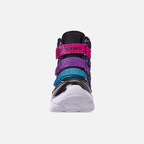 Front view of Girls' Little Kids' Skechers Twinkle Toes: Lumi Luxe Hook-and-Loop Boots