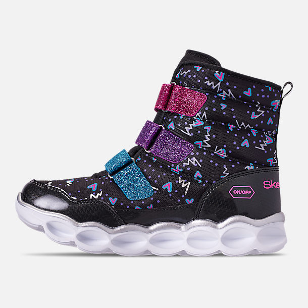 Left view of Girls' Little Kids' Skechers Twinkle Toes: Lumi Luxe Hook-and-Loop Boots