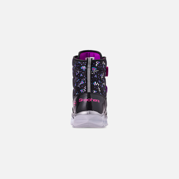 Back view of Girls' Little Kids' Skechers Twinkle Toes: Lumi Luxe Hook-and-Loop Boots