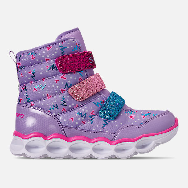 Right view of Girls' Little Kids' Skechers Twinkle Toes: Lumi Luxe Hook-and-Loop Boots in Silver Multi Color