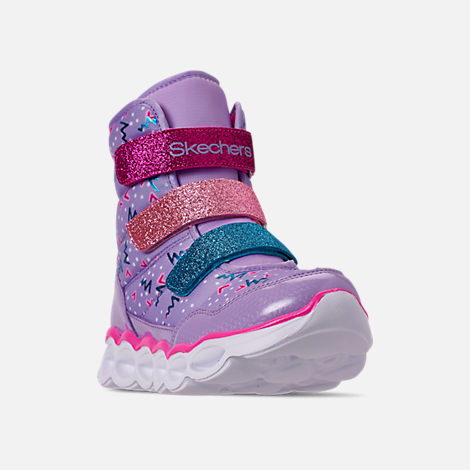 Three Quarter view of Girls' Little Kids' Skechers Twinkle Toes: Lumi Luxe Hook-and-Loop Boots in Silver Multi Color