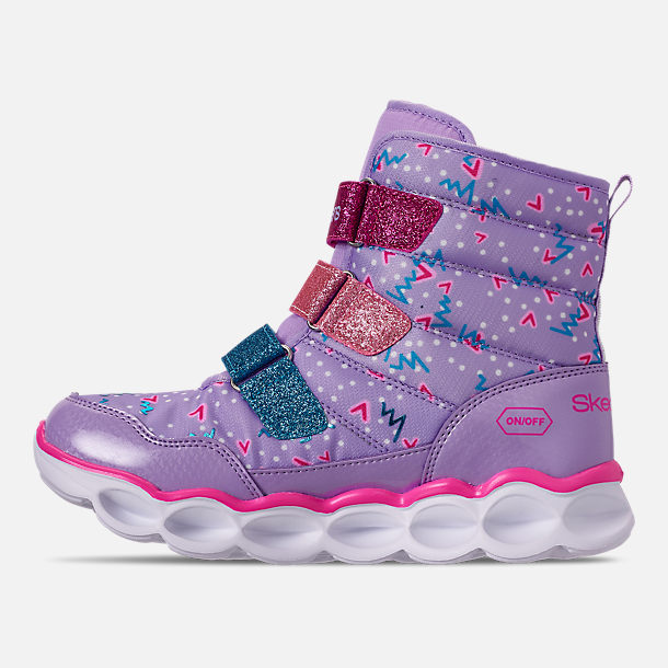 Left view of Girls' Little Kids' Skechers Twinkle Toes: Lumi Luxe Hook-and-Loop Boots in Silver Multi Color