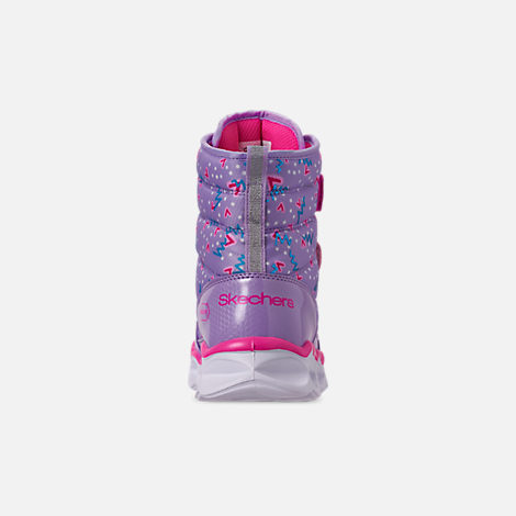 Back view of Girls' Little Kids' Skechers Twinkle Toes: Lumi Luxe Hook-and-Loop Boots in Silver Multi Color