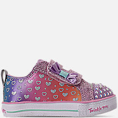 Girls' Toddler Skechers Twinkle Toes: Shuffle Lite - Sparkly Hearts Light Up Hook-and-Loop Casual Shoes