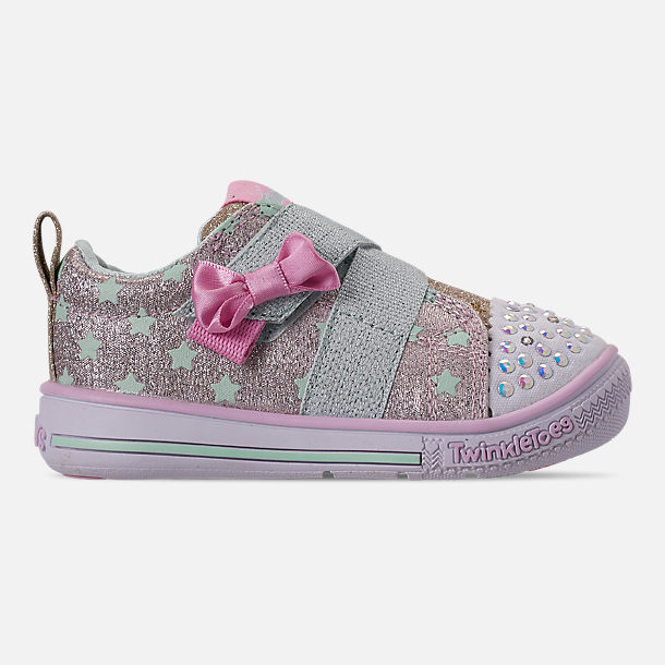 Right view of Girls' Toddler Skechers Twinkle Toes: Twinkle Play - Sparkle Shines Light Up Hook-and-Loop Casual Shoes in Glitter Star Print