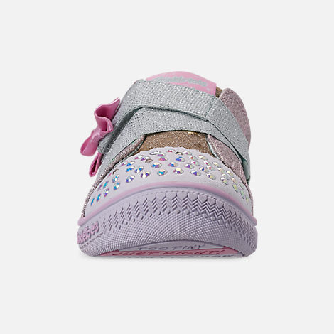 Front view of Girls' Toddler Skechers Twinkle Toes: Twinkle Play - Sparkle Shines Light Up Hook-and-Loop Casual Shoes in Glitter Star Print
