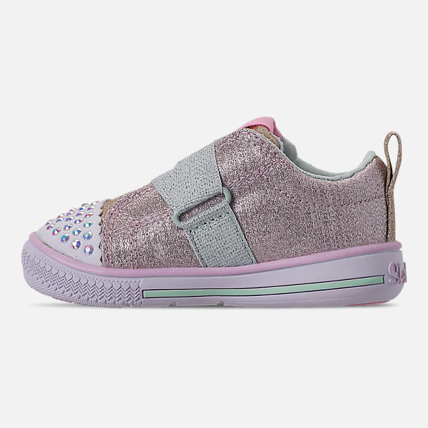Left view of Girls' Toddler Skechers Twinkle Toes: Twinkle Play - Sparkle Shines Light Up Hook-and-Loop Casual Shoes in Glitter Star Print