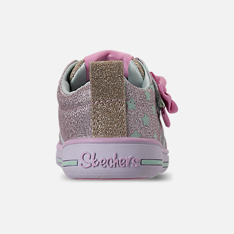 Back view of Girls' Toddler Skechers Twinkle Toes: Twinkle Play - Sparkle Shines Light Up Hook-and-Loop Casual Shoes in Glitter Star Print